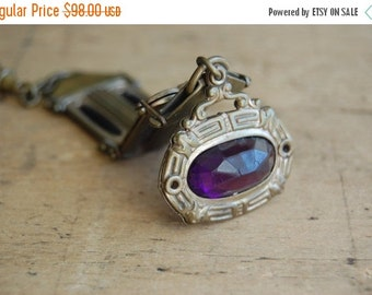SALE antique brass fob with glass / antique pendant / MULBERRY
