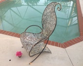 VINTAGE SCULPTURAL METAL CHAIr Whimsical Garden Chair Hand Made Welded Washer Sculptural Arm Chair Modern Cool Style at Retro Daisy Girl
