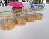 VINTAGE CULVER GLASSES / Antiqua Lowball Rocks Glasses / Culver Gold Glasses Set of 4 / Culver Mid Century Modern Style at Retro Daisy Girl