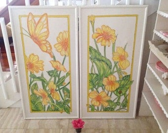 FLOWERS BUTTERFLY and LADYBUG Paintings Faux Bamboo Frame / Pair of Yellow and Green Whimsical Paintings Over 4 ft tall at Retro Daisy Girl