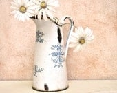Vintage French Country Enamel Pitcher