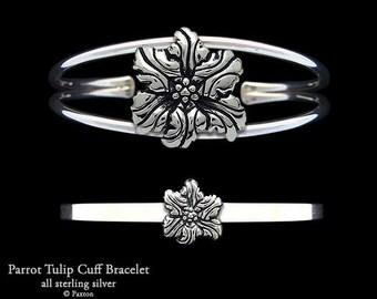Parrot Tulip Flower Bracelet Sterling Silver Flower Cuff Bracelet Handmade