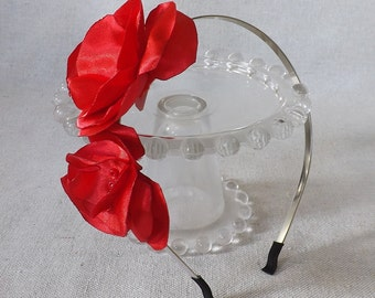 Thin Grey Headband with Satin Flower Duo in Bright Red