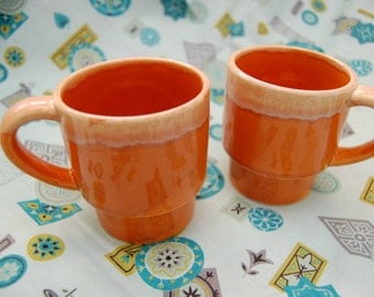 Pair of Orange Ombre Stacking Mugs