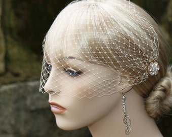 Bandeau Style Veil, Champagne Color Veil, Champagne Blusher, French Net Veil, Rhinestone Flower Combs
