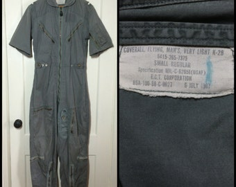 1960's USAF US AirForce very light summer flight suit K-2B aviator short sleeve coveralls size Small Regular Vietnam War