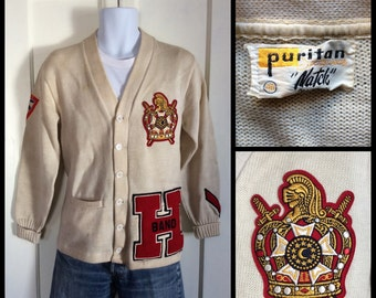 1950's Band Letter H Varsity Cardigan Wool Sweater size 40 King Crown Patches Puritan Natch