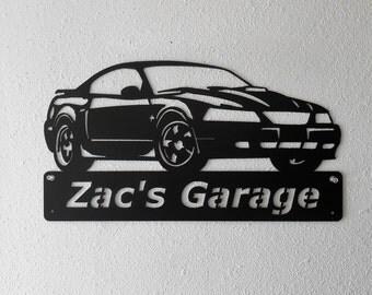 Ford Mustang 2003- Man Cave - Garage Sign - Satin Black - Personalized Sign - Metal Art - Car Art