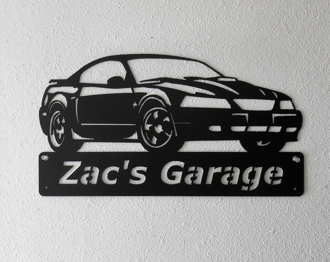 Ford Mustang 2003- Man Cave - Garage Sign - Satin Black - Personalized Sign - Metal Art - Car Art