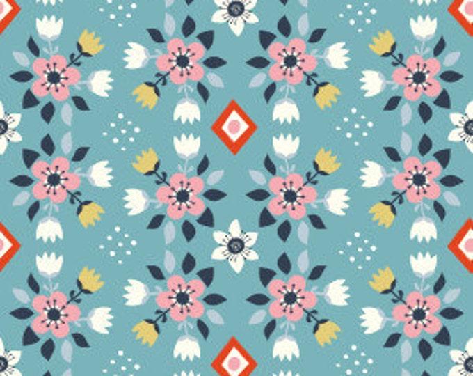 Organic Cotton Fabric - Birch Wildland Poplin - Flowerbed Blue