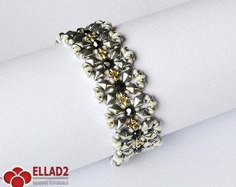 Tutorial Diamond Duo Bracelet - Beading Pattern, Beading Tutorial, Instant download, Ellad2