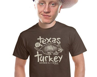 Texas Turkey armadillo shirt funny TX shirt foodie shirts food t-shirt for men brown tee short sleeved summer funny gifts for texans s-4xl