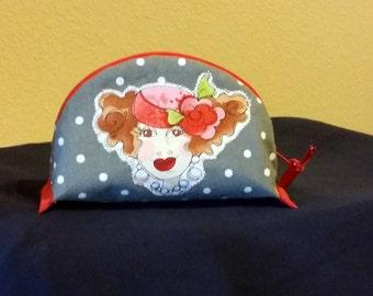 Dumpling pouch,  zipper pouch, small pouch, lined pouch, cosmetic pouch, Loralie design woman cartoon face, gray, polk a dot, red