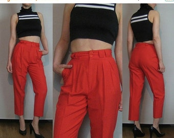 SUMMER SALE 80s CROPPED Cotton Tapered Vintage Cherry Red Pleated Skinny Tapered Leg High Waist Spring Summer Capri Trousers Pants xxs/xs Sm