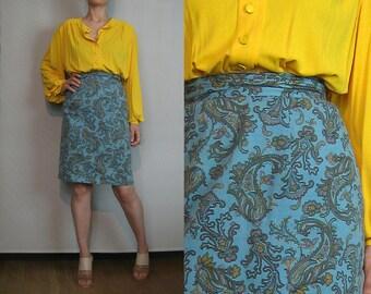 80s SKY BLUE COTTON vtg Paisley Ultra High Waist Powder Blue Orange Puce Sage Green Mocha Pencil Mini Skirt xs Small