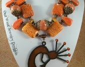 Cowgirl Necklace Set - Chunky Orange Howlite Turquoise - Kokopelli Pendant - Southwestern