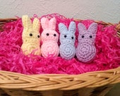 Crochet Marshmallow Bunnies, Set of 4 Pastel Bunnies, Easter Decor, Basket Treats - Ready to Ship