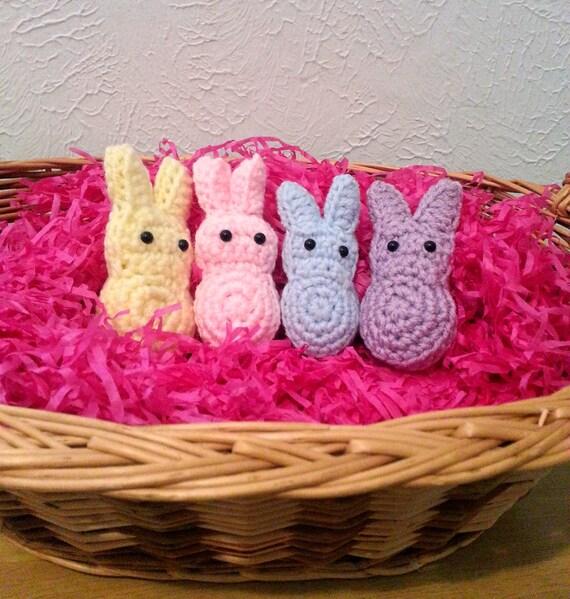 Crochet Marshmallow Bunnies, Set of 4 Pastel Bunnies, Easter Decor, Basket Treats