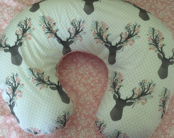 Boppy Pillow Cover- Boppy Pillow- Pillowcase- Woodland Nursery- Antler Nursery- Minky Pillow Cover