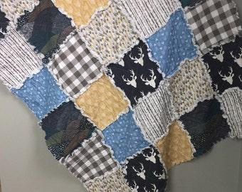 Rag Quilt- Deer Antlers- Forest Theme- Baby Blanket- Crib Quilt- Baby Rag Quilt- Woodland Nursery