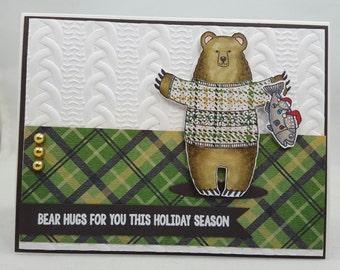 Christmas Male Bear Hugs - Handmade Greeting Card - Blank Note Card, Cuteness, Holiday, Winter, Bears