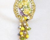 Long Assemblage Necklace in Yellow, Green, and Purple, Cameo,Matching Earrings