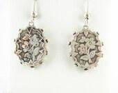 Victorian Forget Me Not Earrings, Flower Blossom Design Sterling Silver Dangle Earrings. Antique 1890s Pierced Drops.