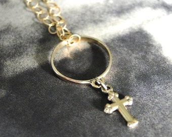14K Gold Vintage Cross and Charm Necklace, Jewelry, Vintage Art Deco 14k Gold Cross,  14k Gold Filled Textured Chain, Gold Cross