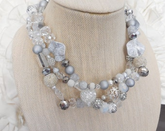 Silver clear sparkle lucite ivory white chunky twisted statement necklace