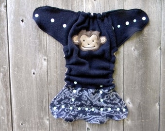 Upcycled Wool Nappy Cover Diaper Wrap Cloth Diaper Cover One Size Fits Most Navy Blue Gray Pattern With  Monkey Applique / Taupe & Blue