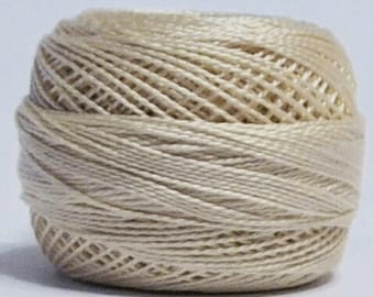 DMC Perle Cotton, Size 8, DMC Pearl Cotton Ball, Ecru, Embroidery Thread, Punch Needle, Penny Rugs, Primitive Stitching, Sewing Accessory