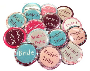 "Bride's Tribe Bachelorette Buttons, 1.5"", Bachelorette Pins, Bachelorette Party Buttons, Bride's Tribe Pin Back Buttons, Bridal Party, Bride"