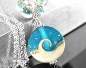 Dark Aqua Blue Ocean Wave Necklace Sterling Silver Artisan Handmade Lampwork Pendant Necklace Frosted Blue Nautical Jewelry Beach Necklace