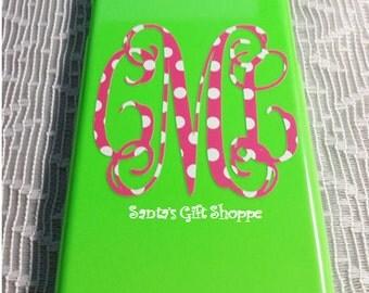 Cell Phone Monogram, Vine Polka Dot Monogram Decal, Vinyl Decals, (HOLDER NOT INCLUDED)Teenager Gift,Birthday Gift