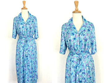 Vintage 70s Shift Dress - floral dress - 1970s dress - 40s style - deadstock - knee length - casual dress - XL