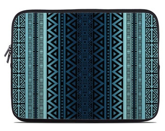 Tribal netbook case, tablet case, tablet sleeve, laptop sleeve, laptop cover, laptop case, to fit 10, 13, 15, 17 inch, blue ombre