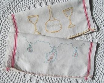 Vintage Kitchen Dish Towel Embroidered Red Stripes Tea Pot Cups Flask Goblets Linen Set of 2