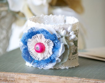 Unique Gift Idea for Women and Teen Girls, Colorful Cuff Bracelet, Blue Floral Cuff, Textile Jewelry, Flower Bracelet, Wrist Corsage, Prom