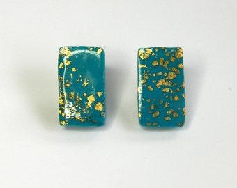 Turquoise Stud Earrings Turquoise Post Earrings Rectangular Earrings Turquoise Rectangular Stud Earrings