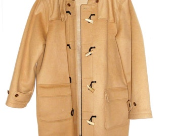 Vintage Lands End Men's Duffle Mixed Hooded Overcoat Jacket Light Brown / Tan Size XL 46 48