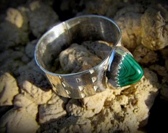 Malachite Cabochon in Sterling and Fine Silver Ring