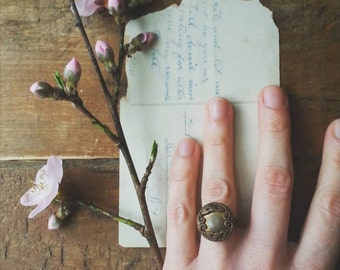 Flower Cocktail Ring Made From a Vintage Brass Button, Shabby Chic Floral Statement Ring, Antique Button Jewelry