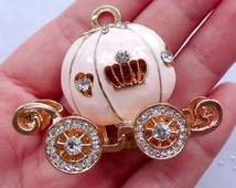 Cinderella Pumpkin Carriage Metal Cabochon (Baby Pink, Gold w/ Clear Rhinestones) (41mm x 52mm) Cell Phone Decoden Jewelry Making CAB113