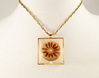 Clearance Pendant Necklace, Vintage Jewelry, Vintage Necklace, Floral Lucite Necklace, Gold Tone Floral Necklace, Summer Necklace, Mint