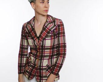 Vintage 60's women's plaid blazer, wide collar, wooden buttons, beige / rusty orange / purple / brown, Moody Street - Small