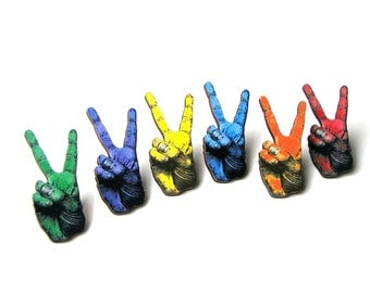 hippie peace hand pin . peace sign brooch . hippy peace hand tie tack . colorful peace hand lapel pin - CHOOSE YOUR COLOR
