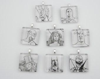 """DC Comics Wonder Woman (sold out), Bat Girl, Flash, Hawkman, Superman, Zatanna (sold out), Green Lantern, 1"""" x 1"""" Glass Tile Pendant"""