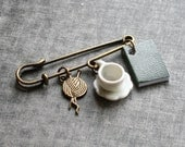 Book and Tea Brooch Knitting Nerdy Kilt Pin Teacup