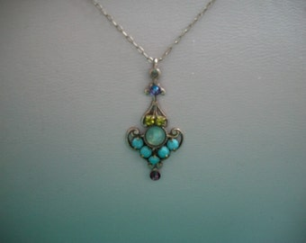 Clara Bow Purple, Turquoise, Peridot Necklace
