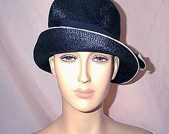 1960s Dorothy Lee Originals Flapper Style Turned Up Brimmed Navy and Cream Cloche Hat